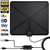 Antena Interior TV, Antena de TV Digital HD para Interiores, Antena de TV de Alcance de...