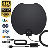 Antena de TV, Antena de TV Digital HD para Interiores, Antena de TV de Alcance de 130KM...