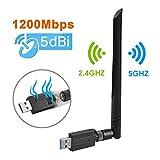 Maxesla WiFi Adaptador AC 1200Mbps USB WiFi Receptor Dual Band 2.4G/5GHz, WiFi Antena para...