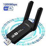 1200Mbps Adaptador WiFi USB, Receptor WiFi Dongle Inalámbrico con Doble Banda AC1200,...